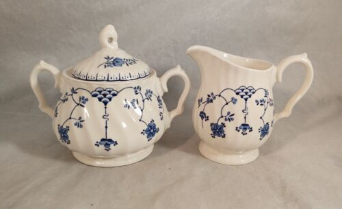 Myott Finlandia Blue Sugar Bowl and Creamer Set