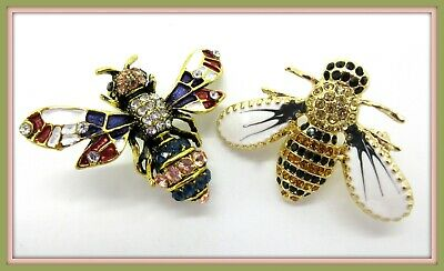 Brooch Pin Bee Lovers Combo! Sparkling Crystals, Bright Enameling
