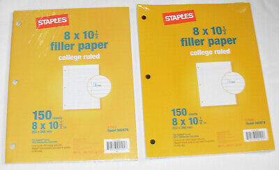 New College Ruled Filler Paper 2 Packs 120 Sheets Each Staples 3-hole 8 X 10 12