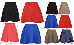 Skater-Belted-Stretch-Waist-Plain-Flippy-Flared-Short-Skirt-Womens-Ladies-pnt