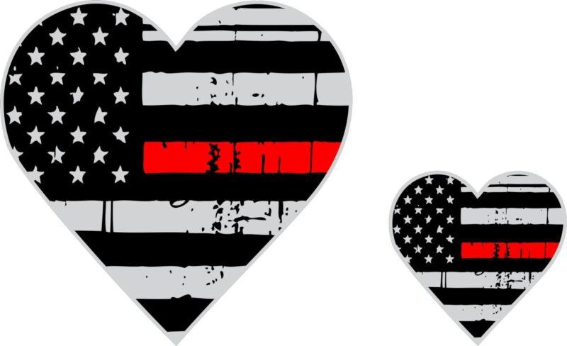 Tattered Firefighter Wife / Firefighter Girlfriend Red Line Heart Flag Decal x2