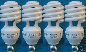 (4) 3 Way Compact Fluorescent Light Bulbs CFL 11/20/26w=50/75/100w Save75%Energy