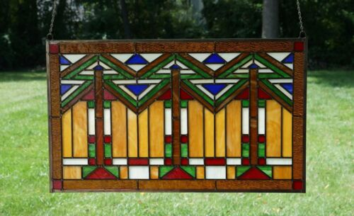 "Handcrafted stained glass window panel Mission style panel, 34.5""W x 20.5""H"