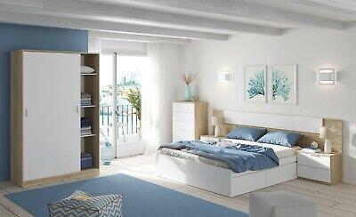 Pack dormitorio Alaya blanco y roble (cama+cabecero+2 mesitas+armario+sinfonier)