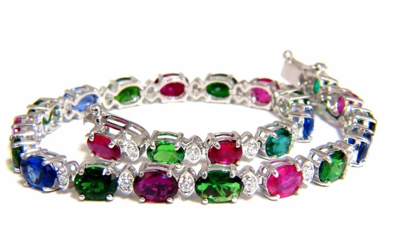 11.07ct natural tsavorite ruby sapphires diamond tennis bracelet 14kt