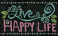 Toland Home Garden Happy Life Chalkboard 18 x 30 Inch Decorative Floor Mat