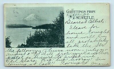 RARE 1900s GREETINGS FROM SEATTLE, WASHINGTON PMC POSTCARD - MT RAINIER - Z3
