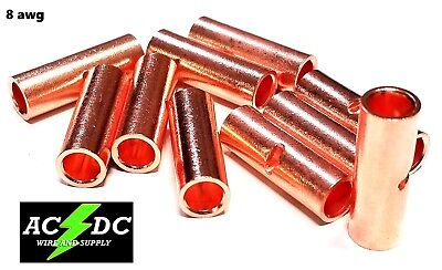 10 Butt Connector - 8 GAUGE BARE COPPER BUTT CONNECTOR 10 PK CRIMP TERMINAL AWG BATTERY