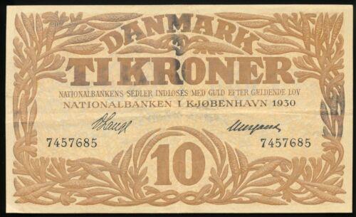 DENMARK Denmarks National Bank 1930 10 Kroner Pick # 26a Nice Crisp VF