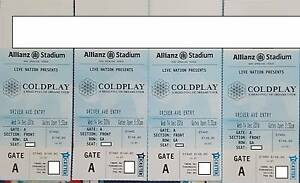 2xGold GA Tickets Coldplay Sydney Head Full of Dreams 14 Dec Higgins Belconnen Area Preview
