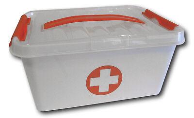 Erste Hilfe Kasten Verbandskasten Aufbewahrung Medizin Notfall Box + Deckel 8 L.