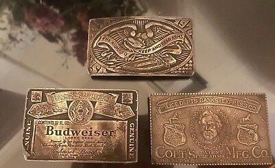 Vintage Budweiser, Colt Firearms & 1976 Right To Bear Arms Belt Buckles