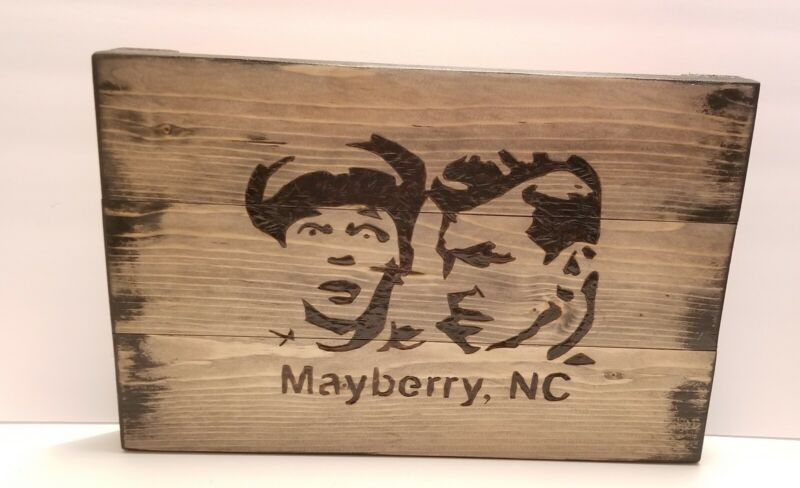 Mayberry N.C. , Andy Taylor & Barney Fife Handcrafted Wooden Sign/Plaque