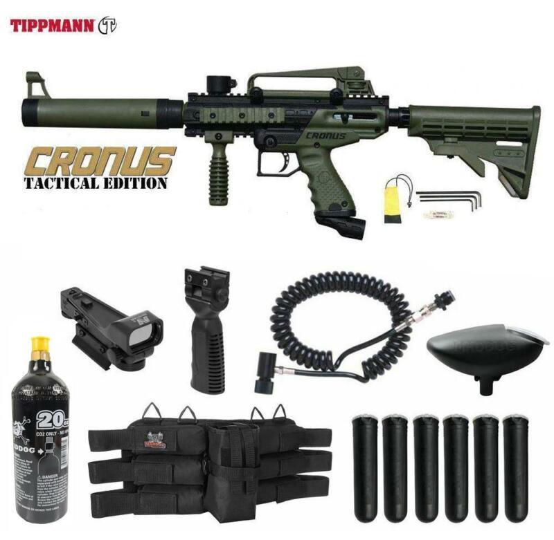 Tippmann Maddog Cronus Tactical Red Dot Paintball Gun Package Olive