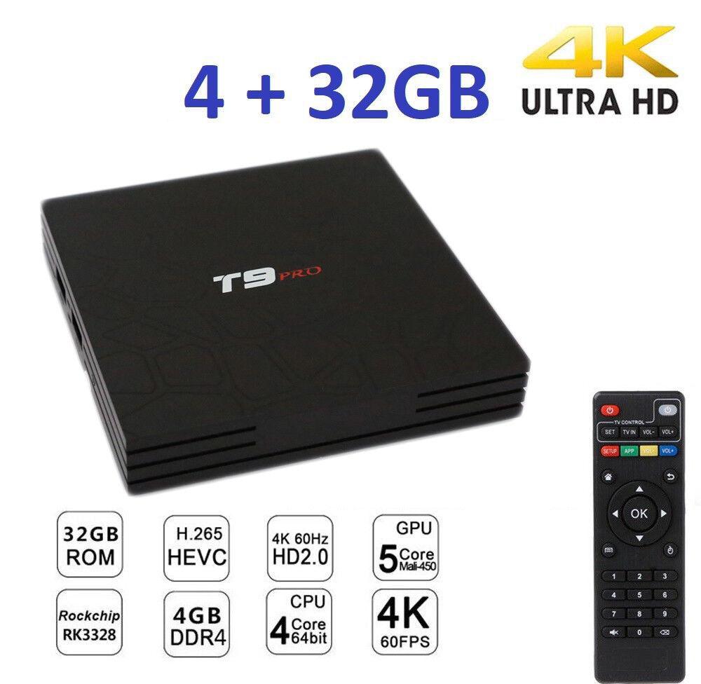Smart TV BOX T9 PRO Android 7.1.2 4GB RAM 32GB 4K IPTV GPU 5 CORE QUAD WIFI