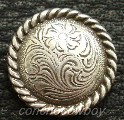 WESTERN SADDLE HEADSTALL HORSE TACK ANTIQUE ENGRAVED ROPE EDGE CONCHO screw (Western Concho)