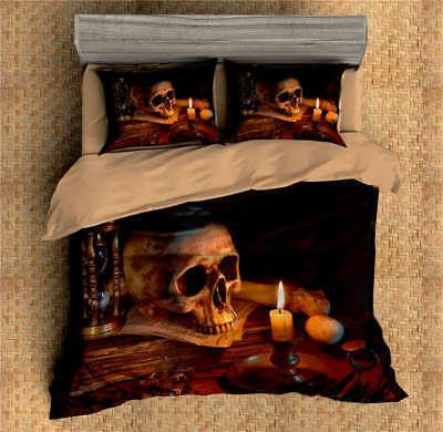 Skull Candle Nice Funnel 3D Digital Print Bedding Duvet Quilt Cover Pillowcase