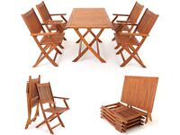 Nice set of wooden patio table & 4 chairs but used hence price