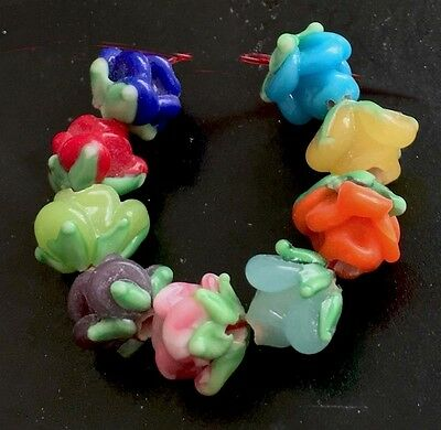 Lampwork Handmade Glass Colorful Rose Floral Beads (9) - Floral Beads