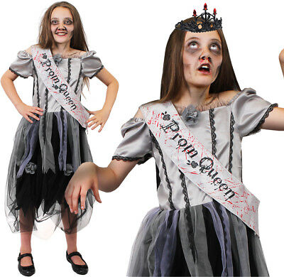 GIRLS ZOMBIE PROM QUEEN COSTUME KIDS HALLOWEEN HORROR CHILDS FANCY DRESS OUTFIT