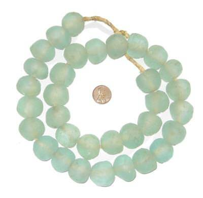 Clear Green Recycled Glass - Jumbo Clear Aqua Recycled Glass Beads 24mm Ghana African Sea Glass Green Round