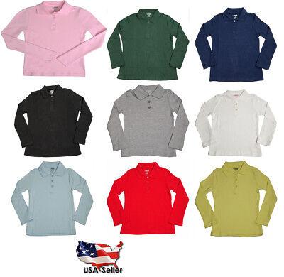 French Toast School Uniform Girls Long Sleeve Interlock Polo Shirt (Sizes 4-20)