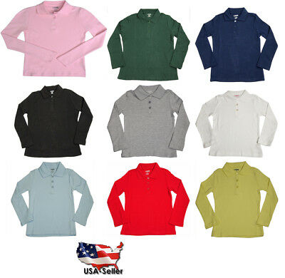 school uniform girls long sleeve interlock polo