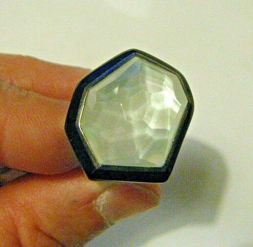 Huge Ippolita Chunky Modern Black Resin Ring Sterling White Faceted Quartz sz 7