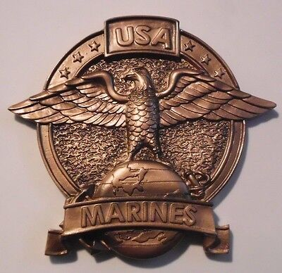 USA UNITED STATES MARINE CORPS  BRONZE RESIN EMBLEM LOGO RELIEF MOUNT ATTACHMENT