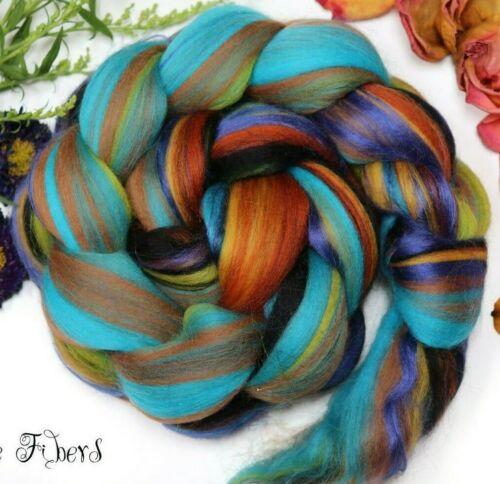 KINGFISHER - Merino Bamboo Viscose Blend Roving Combed Top Wool Roving - 4 oz
