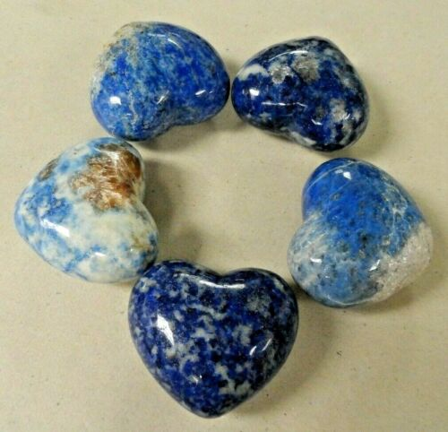 LOT OF 5 SODALITE HEARTS 45x40 MM - UNDRILLED