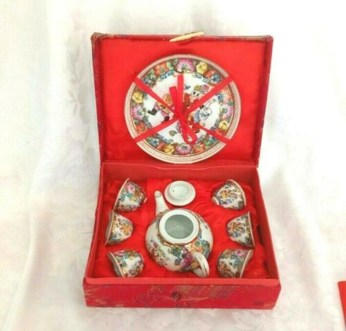 Vintage Small Asian Style Tea Set With 6 Tea Cups, Teapot, Platter and Storage