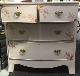 Bedroom set painted in chalk paint and decorated with decoupage. Shabby chic style.