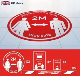 ANTI SLIP Vinyl Sticker X10 🛑 2 Meter Social Distancing Graphic 🇬🇧 FREE UK DELIVERY- Retail Sign