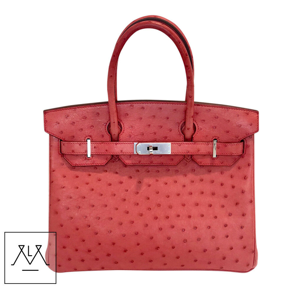Details About Hermes Birkin Bag 30cm Bougainvillea Red Ostrich Skin Phw 100 Authentic