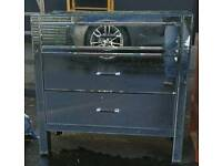 Mirrored glass chest of three drawers