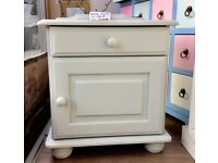 Vintage, restored, small pine bedside cabinet, handpainted in Autentico chalk paint