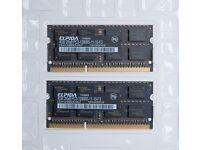 2 x Elpida 4GB ram modules 2Rx8 PC3-12800S-11-10-F3 (IMac ram)