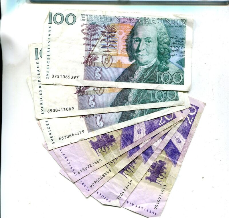 SWEDEN 1986 1991 100 AND 20 KRONER  CURRENCY LOT OF 7 CIRCULATED  8245K