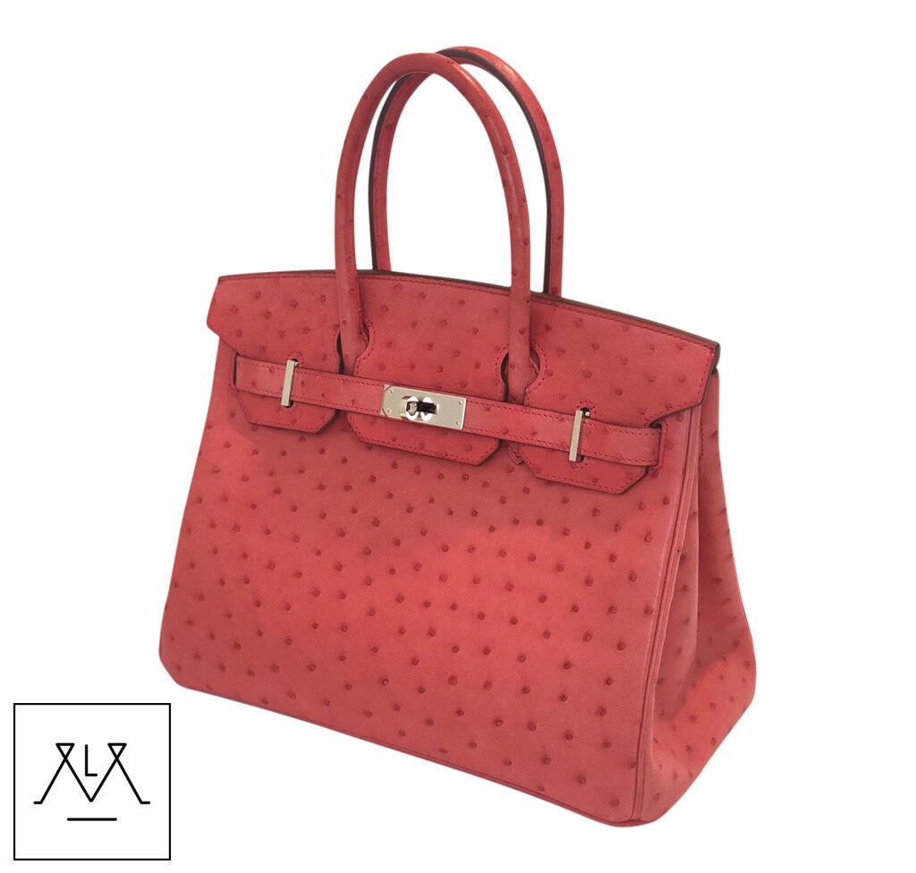 816ea857d364 Hermes Birkin Bag 30cm Bougainvillea Red Ostrich Skin PHW - 100% Authentic