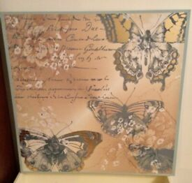 BEAUTIFUL GILTED BUTTERFLY CANVAS 60cm x 60cm