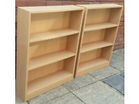two small bookcases. 83 x 65 x 17cm. Two adjustable shelves. In good condition