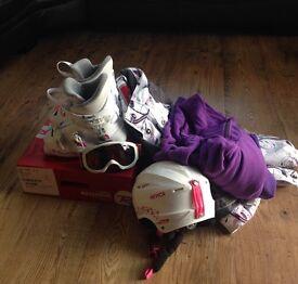 Girls ski boots, helmet, jacket, goggles, mid layers