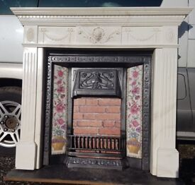 107 Cast Iron Fireplace Fire Arch Arched Antique Victorian Style Surround Composite Marble