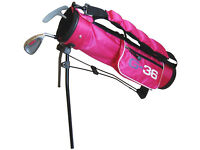 Golf36 Baby Golf Set Pink - 7 Iron with Putter and Bag - NEW - Real Clubs