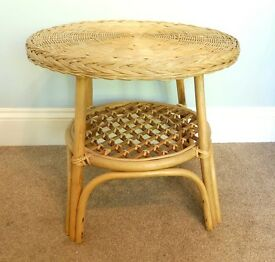 Vintage / Retro Wicker Ratton Small Table and Stool excellent quality
