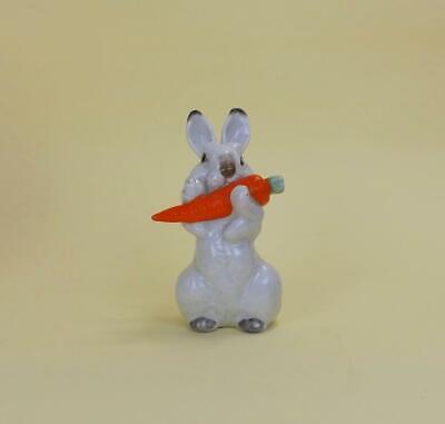 Antique Russian Soviet LFZ Figurine of Rabbit with Carrot Designed E.Cherushin