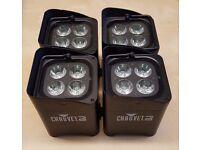 4 x Chauvet Freedom Par Quad-4 RGBA LED Uplighter - Battery Powered – Wireless