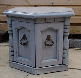 Shabby chic hexagonal cupboard / occasional table. Vintage style