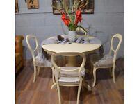 Shabby Chic Round Dining Table & 4 Balloon Chairs Cream Velvet